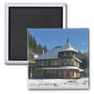 Wallace Idaho Depot in Winter 2 Inch Square Magnet