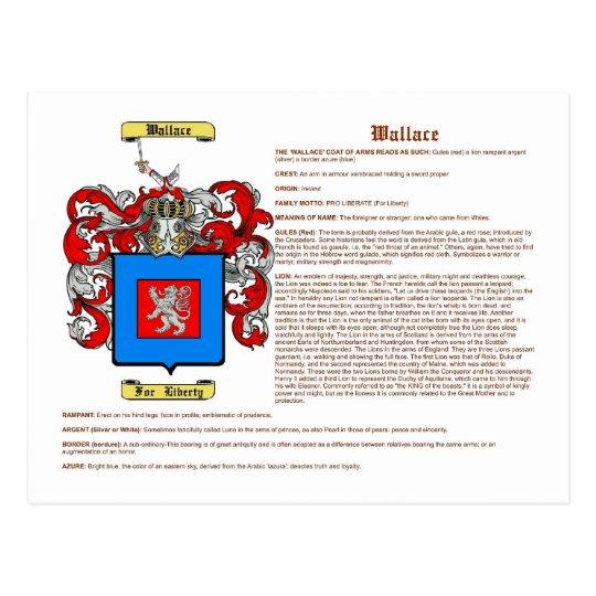 Wallace (meaning(irish)) postcard