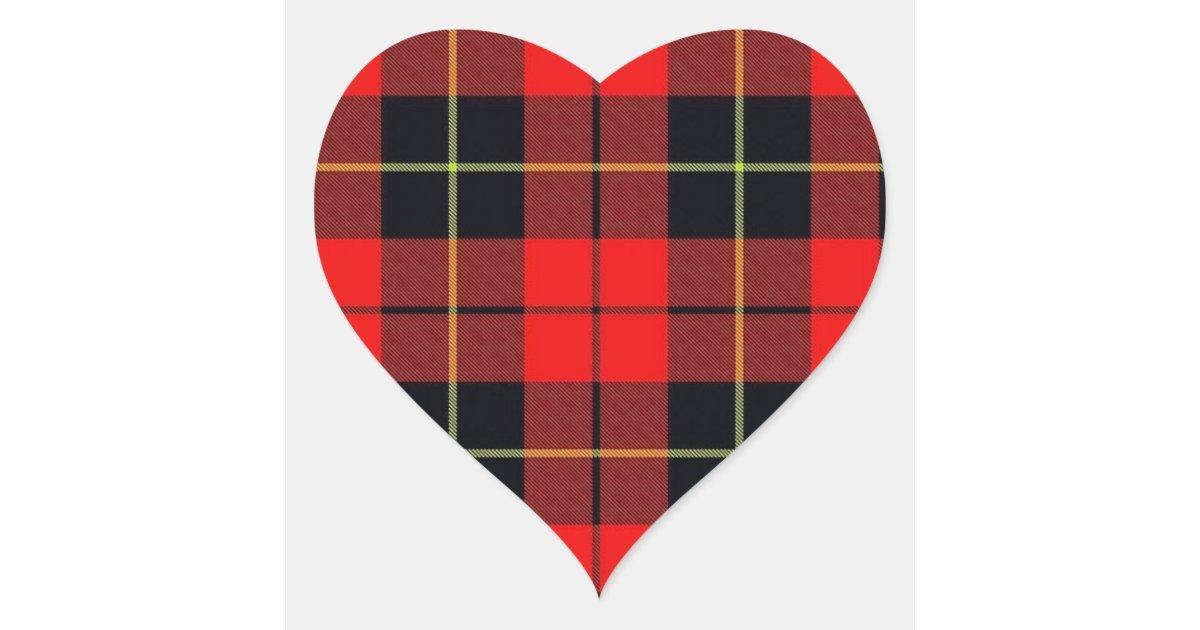 Wallace Plaid Heart Sticker Zazzle
