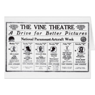 Wallace Reid William S Hart 1919 movie theater ads Card