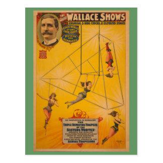 Wallace Shows Triple Revolving Trapeze Poster Postcard