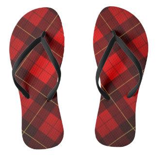 Wallace tartan background flip flops