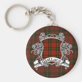 Wallace Tartan Shield Basic Round Button Keychain
