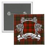 Wallace Tartan Shield Button