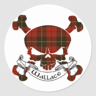 Wallace Tartan Skull Classic Round Sticker