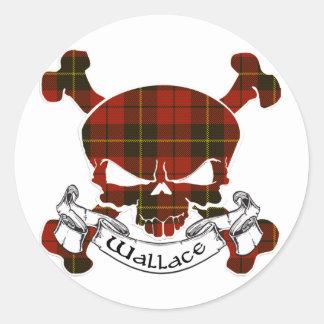 Wallace Tartan Skull Round Stickers