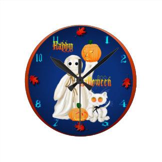 Wallclock del fantasma y del gatito de Ghosty Reloj Redondo Mediano