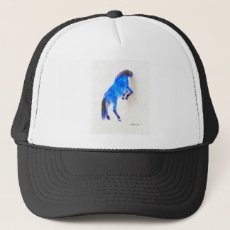 Walled Blue Horse - Watercolor over paper Trucker Hat