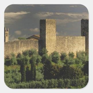 Walled city of Monteriggioni, in the province of Square Sticker