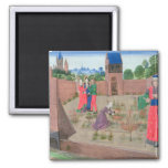 Walled garden with a woman gardening 2 inch square magnet