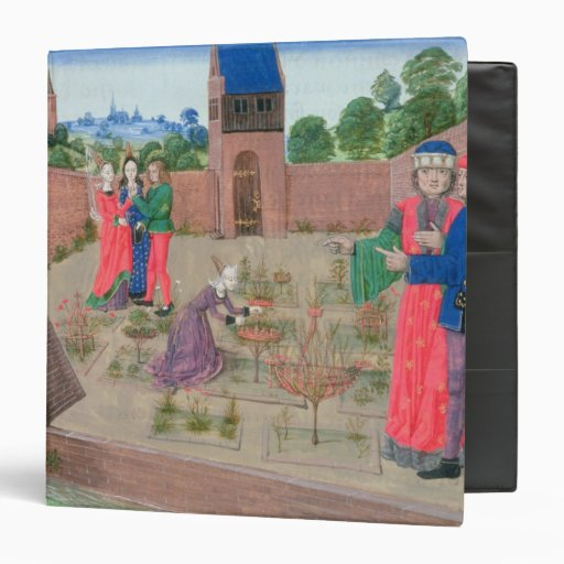 Walled garden with a woman gardening 3 ring binder