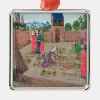 Walled garden with a woman gardening christmas ornament