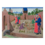 Walled garden with a woman gardening poster