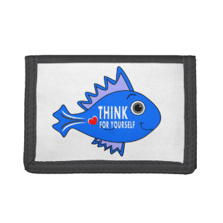 wallet blue fish cartoon THINK FOR YOURSELF