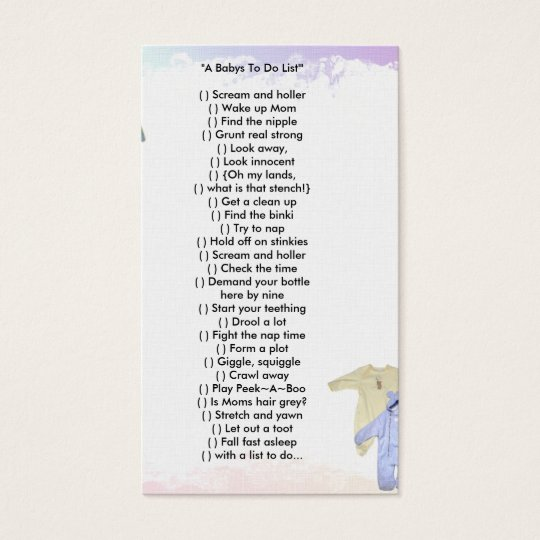"""Wallet Card """"A Babys To Do List'"""""""