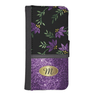 Wallet Case - Elegant Purple Glitter Floral Design Phone Wallet Case