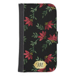 Wallet Case - Elegant Red Glitter Floral Design