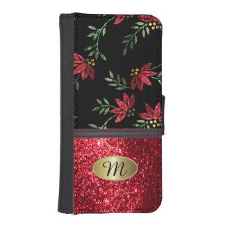 Wallet Case - Elegant Red Glitter Floral Design iPhone 5 Wallet