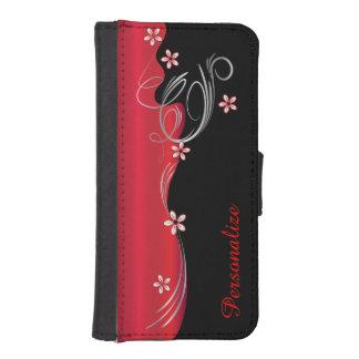 Wallet Case - Floral Florid Deep Red Design iPhone 5 Wallet