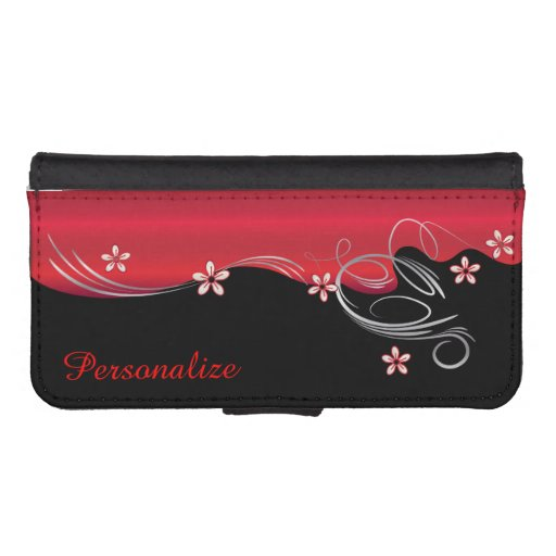 Wallet Case - Floral Florid Deep Red Design iPhone 5 Wallets