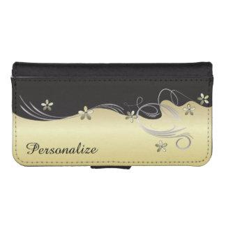 Wallet Case - Floral Florid Gold Design Phone Wallet