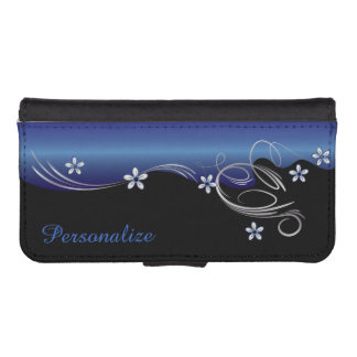 Wallet Case - Floral Florid Sapphire Design