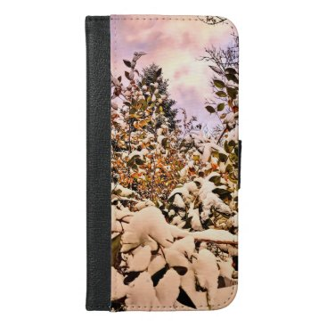 Wallet Case Fresh Snow On Colored Leaves