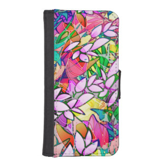 Wallet Case iPhone 5s Grunge Art Floral Abstract iPhone 5 Wallet Cases