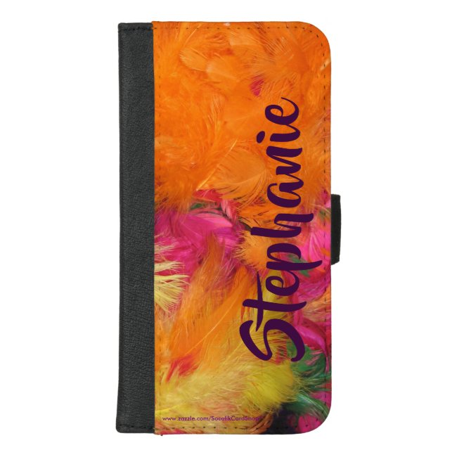 Wallet Case Orange Pink Feathers with Jumbo Name