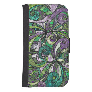 Wallet Case Samsung S4 Drawing Floral Zentangle Galaxy S4 Wallet Case