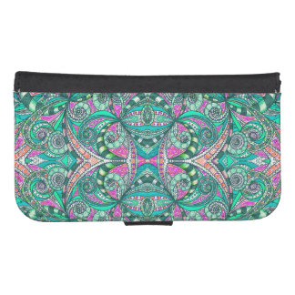 Wallet Case Samsung S4 Drawing Floral Zentangle Galaxy S4 Wallet