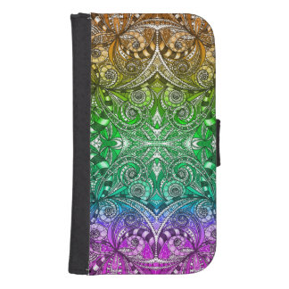 Wallet Case Samsung S4 Drawing Floral Zentangle Phone Wallets