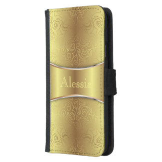 Wallet Case Samsung S5 Floral Abstract Damasks