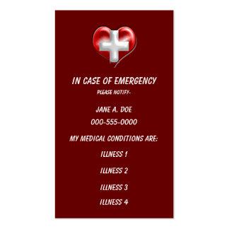 wallet size medical warning business card