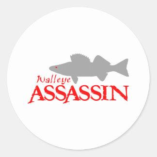 WALLEYE ASSASSIN CLASSIC ROUND STICKER