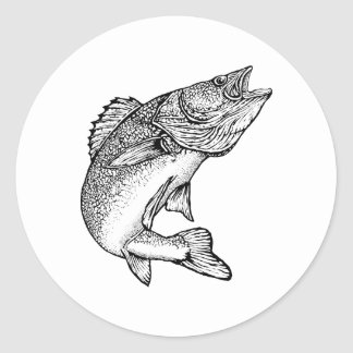 Walleye Fish Classic Round Sticker