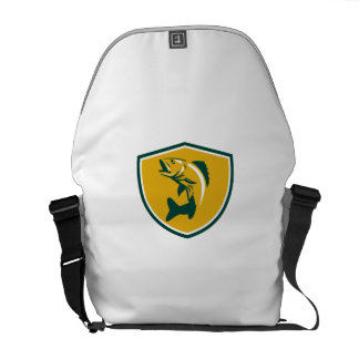 Walleye Fish Jumping Crest Retro Messenger Bag