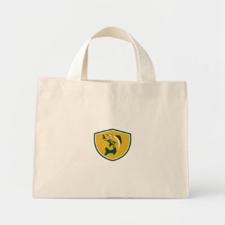 Walleye Fish Jumping Crest Retro Mini Tote Bag