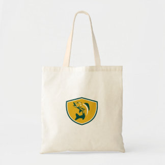 Walleye Fish Jumping Crest Retro Tote Bag