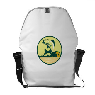 Walleye Fish Lake Lodge Cabin Circle Retro Messenger Bag