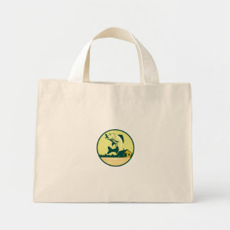 Walleye Fish Lake Lodge Cabin Circle Retro Mini Tote Bag