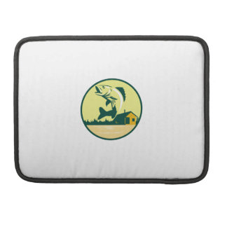 Walleye Fish Lake Lodge Cabin Circle Retro Sleeve For MacBook Pro