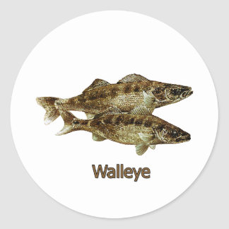 Walleye Fishing Logo Classic Round Sticker