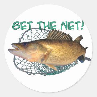 Walleye fishing net classic round sticker