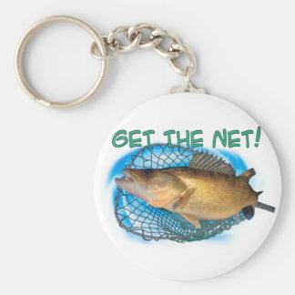 Walleye fishing net keychain
