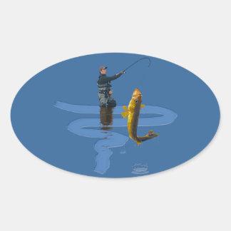 Walleye Fishing Outdoor Fisherman's Sporting Gift Oval Sticker