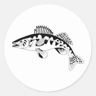 Walleye Outline Classic Round Sticker