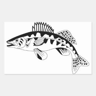 Walleye Outline Rectangular Sticker