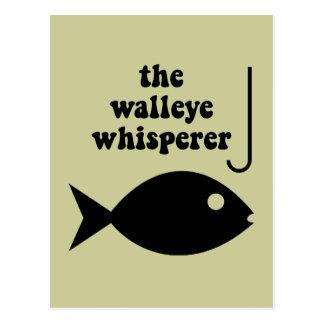 walleye whisperer fishing postcard