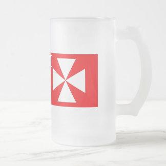 Wallis Island Flag Frosted Glass Beer Mug